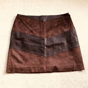 Suede and vegan leather mini skirt